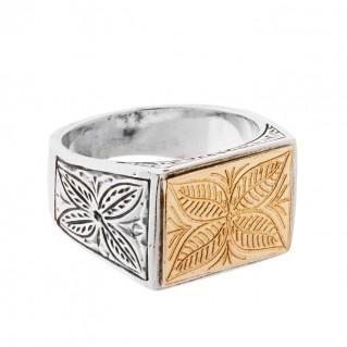 Savati 22K Solid Yellow Gold & Sterling Silver Byzantine Large Men's Ring
