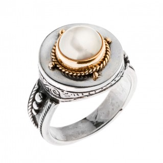 Savati Solid Gold & Sterling Silver Byzantine Solitaire Ring with Pearl