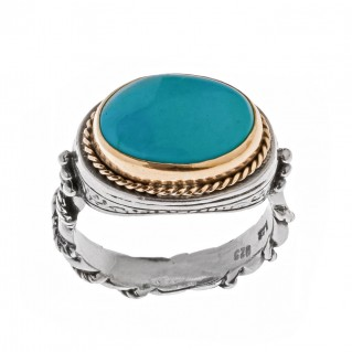 Savati Solid Gold & Sterling Silver Solitaire Ring with Turquoise