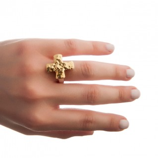 Savati 22K Solid Gold & Silver Large Hammered Cross Ring