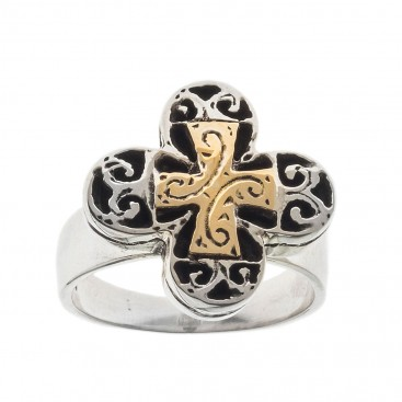 Savati 18K Solid Gold & Sterling Silver Byzantine Cross Ring