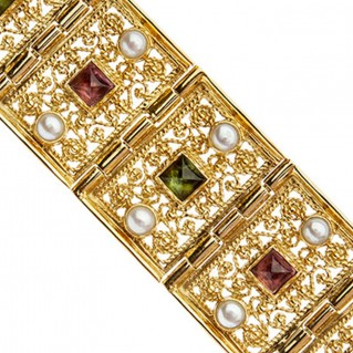 Savati 18K Solid Gold Multi-Stone Byzantine Link Bracelet