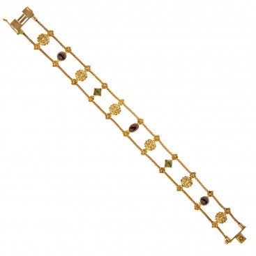 Savati 18K Solid Gold & Tourmaline Rosette Archaic Chain Bracelet
