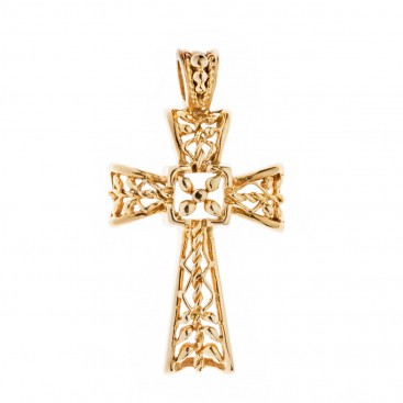 Savati 18K Solid Gold Filigree Latin Cross Pendant
