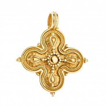 Savati 18K Solid Gold Byzantine Quatrefoil Cross Pendant