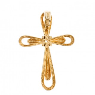 Savati 18K Solid Gold Diamond Cross Pendant