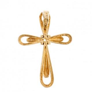 Savati 18K Solid Gold Diamond Cross Pendant