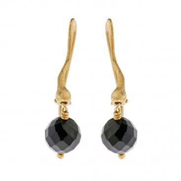 Savati 18K Solid Gold and Black Onyx Drop Earrings