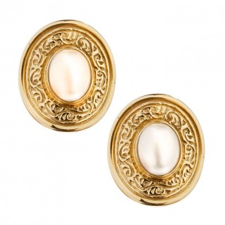 Savati 18K Solid Gold and Pearls Large Stud Earrings