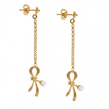 Savati 18K Solid Gold Long Dangle Earrings with Pearls
