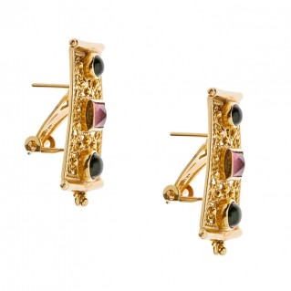 Savati 18K Solid Gold Byzantine Earrings with Tourmaline