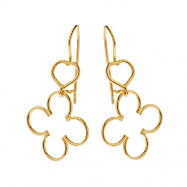 Savati 18K Solid Gold Heart and Clover Hook Earrings