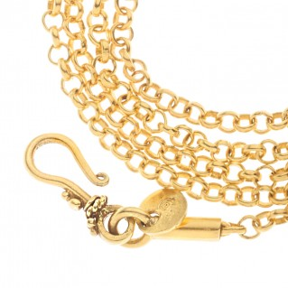 Savati 18K Solid Yellow Gold Cable Chain with S Clasp