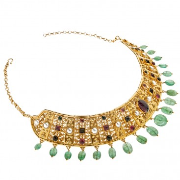 Savati 18K Solid Gold Multi-Stone Byzantine Collar Necklace