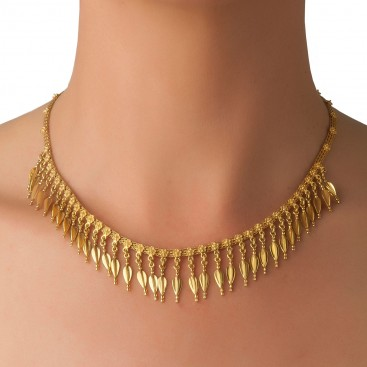Savati 18K Solid Gold Dangling Spearheads Collar Necklace