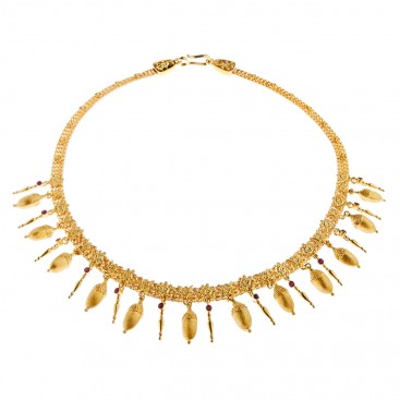 Savati 18K Solid Gold and Rubies Strap Necklace