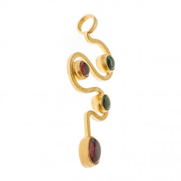 Savati 18K Solid Gold and Tourmaline Large Snake Pendant