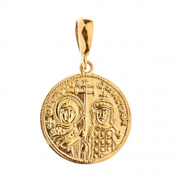 Savati 18K Solid Gold Constantinato Coin Pendant with Virgin Mary and Byzantine Emperors