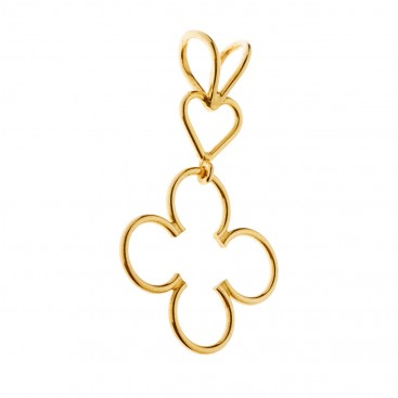 Savati 18K Solid Gold Heart and Clover Pendant