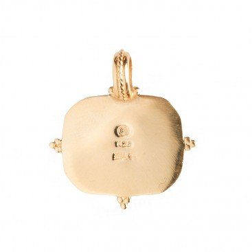 Savati 22K Solid Gold & Engraved Mop Eros Pendant