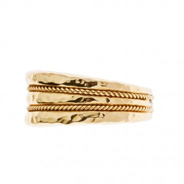 Savati 18k Solid Gold Byzantine Large Band Ring