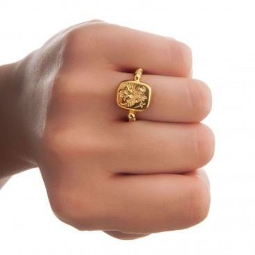 Savati Double Headed Eagle - Byzantine 18K Solid Gold Ring
