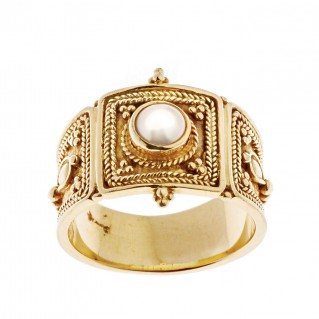 Savati 18K Solid Gold Byzantine Large Band Ring with Pearl