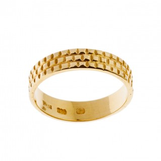 Savati 18K Solid Gold Square Patterned Band Ring