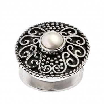 Savati Sterling Silver with Pearl Byzantine Cocktail Ring