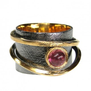 Polemis 104 - Sterling and Gold Plated Silver Ring with Tourmaline