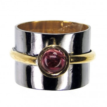 Polemis 106 - Sterling and Gold Plated Silver Ring with Tourmaline