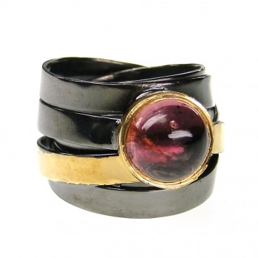 Polemis 113 - Sterling and Gold Plated Silver Ring with Tourmaline