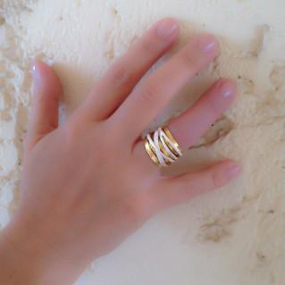 Polemis 4-32AG - Silver and Gold Accents Crossover Wrap Ring