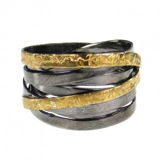 Polemis 4-39A - Black and Gold Silver Large Wrap Ring