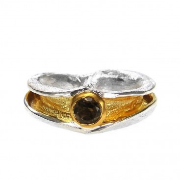 Polemis 516 - Sterling and Gold Plated Silver Ring with Garnet
