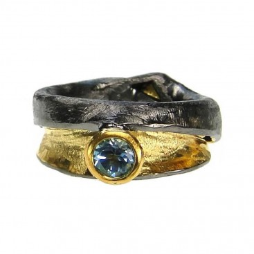 Polemis 517 - Sterling and Gold Plated Silver Ring with Blue Topaz