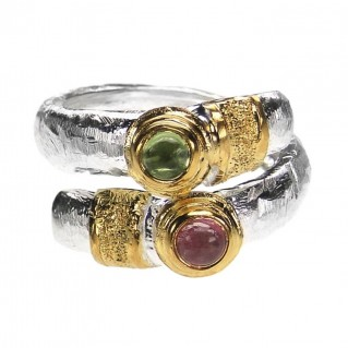 Polemis 520 - Sterling & Gold Plated Silver Wrap Ring with Gemstones