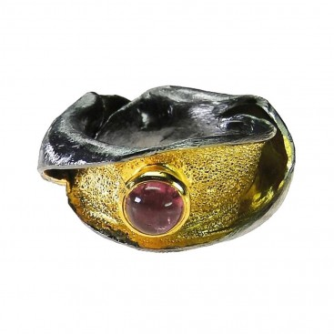 Polemis 523 - Sterling and Gold Plated Silver Ring with Tourmaline