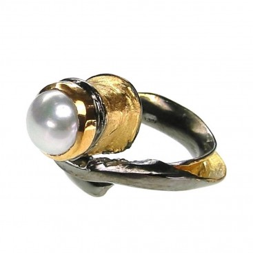 Polemis 601P - Sterling Silver Wrap Ring with Pearl