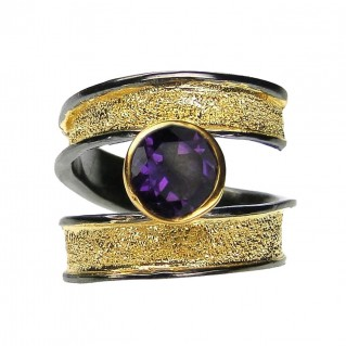 Polemis 607 - Sterling and Gold Plated Silver Ring with Gemstone