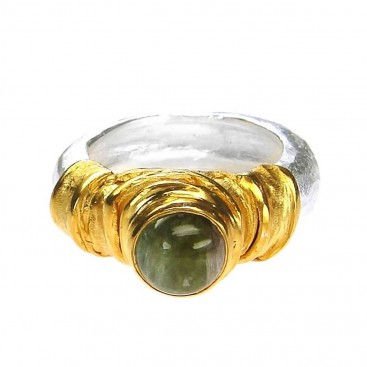 Polemis BP1 - Sterling Silver and Gold Plated Silver Solitaire Band Ring