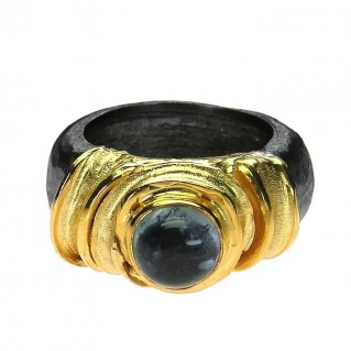 Polemis BP2 - Sterling and Gold Plated Silver Ring with Tourmaline
