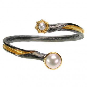 Polemis 300 ~ Sterling & Gold Plated Silver Bracelet with Pearls