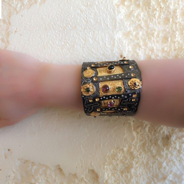 Polemis 320 ~ Black & Gold Silver Large Cuff Bracelet with Gemstones