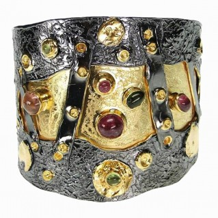 Polemis 321 ~ Sterling Silver Cuff Bracelet with Gemstones