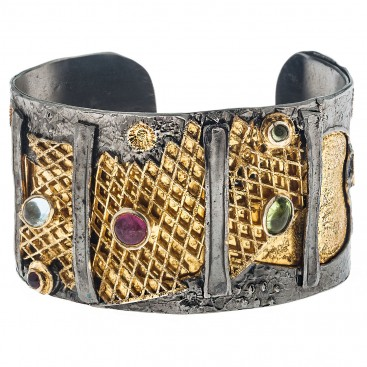 Polemis 502 ~ Sterling Silver Cuff Bracelet with Gemstones