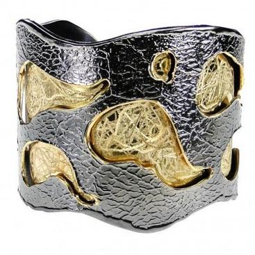 Polemis L180 ~ Sterling & Gold Plated Silver Cuff Bracelet