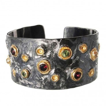 Polemis L181 ~ Sterling Silver Cuff Bracelet with Gemstones