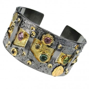 Polemis L341 ~ Sterling Silver Cuff Bracelet with Gemstones