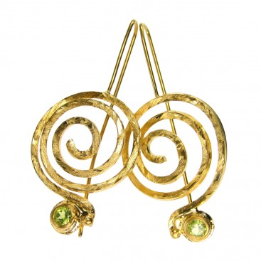Polemis 173 ~ Gold Plated Silver Large Spiral Earrings with Stone